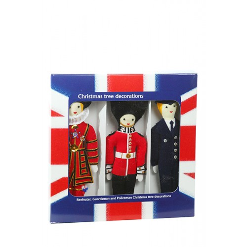 London Box Set- Beefeater, Guardsman, Policeman Christmas Decorations