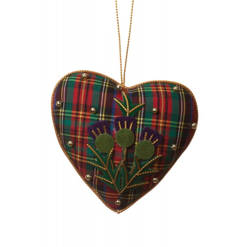 Tartan and Thistle Heart Decoration