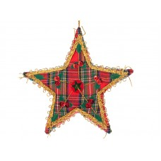 Tartan Sequin Star Christmas Ornament