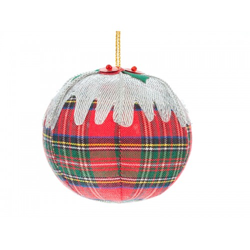 Tartan Plum Pudding Christmas Ornament