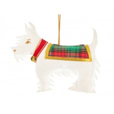 White Scottie Dog Christmas Ornament