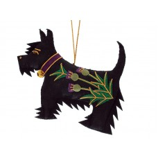 Black Thistle Scottie Dog Christmas Ornament