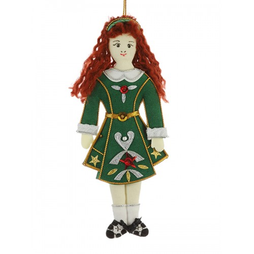 Female Irish Dancer with Green Dress Christmas Decoration
