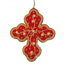 Red and Gold Flower Cross Decoration