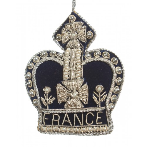 Silver and Navy France Crown decoration