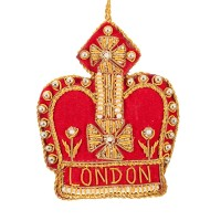 Red Crown with London  Christmas Decoration