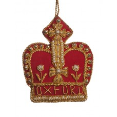 Gold and Red Oxford Crown Ornament