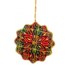 Round Tartan Snowflake Christmas Tree Ornament