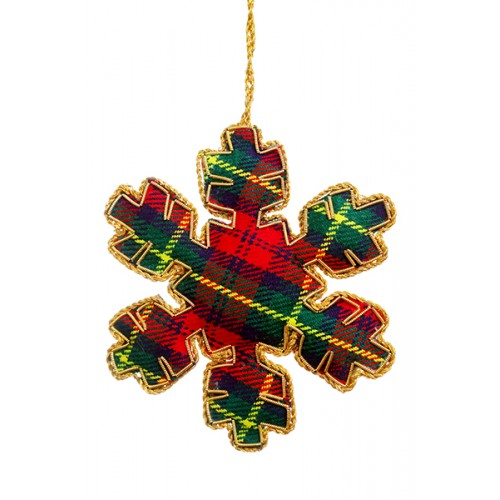 Small Tartan Snowflake Coutout Christmas Tree Decoration
