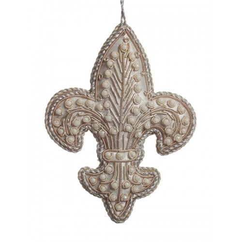 Silver Pearl Fleur de Lis  Christmas Decoration