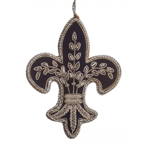 Navy and Silver Fleur de Lis  Christmas Decoration