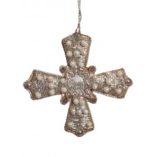 Silver Tissue Cross with Pearls Hanging Decoration
