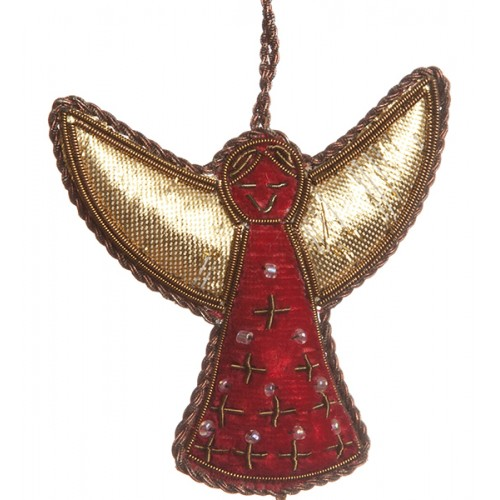 Small Red Antique Gold Angel  Christmas Ornament