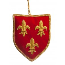 Red Shield with Fleur de Lis Christmas Decoration