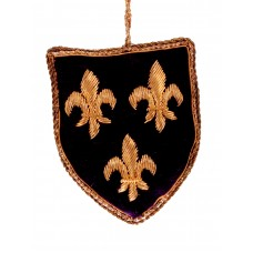 Navy Fleur de Lis Shield Christmas Tree Decoration
