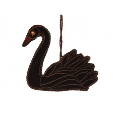 Black Velvet Swan Christmas Decoration