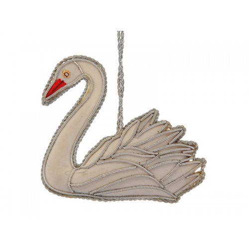 White Velvet Swan Christmas Decoration