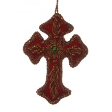 Small Red Velvet Antique Gold Cross Decoration