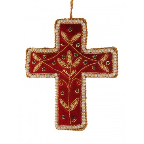 Red Cross with Pearl Border Christmas Tree Ornament