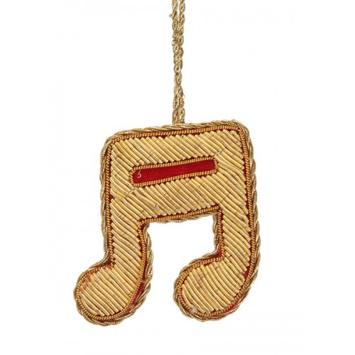Red and Gold Semi-Quaver  Christmas Ornament