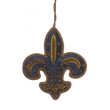 Navy Antique Fleur de Lis Christmas Decoration