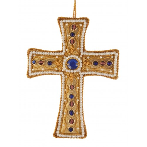 Gold Tissue Cross with Pearl Border Christmas Ornament
