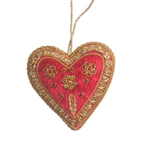 Red Velvet Heart Christmas Decoration