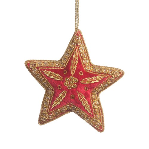 Red Velvet Star Christmas Tree Ornament