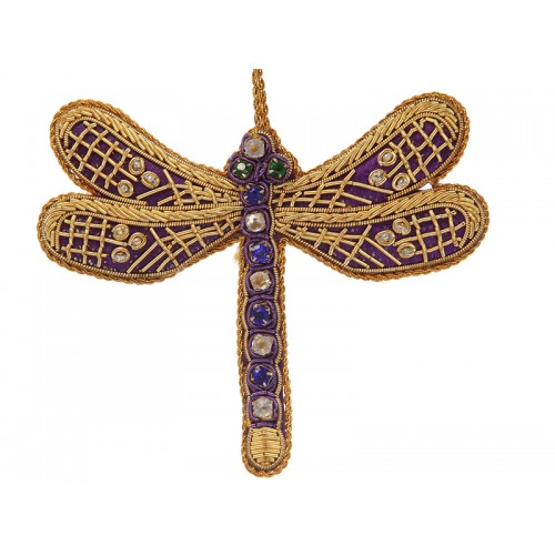 Purple Satin Dragonfly Decoration