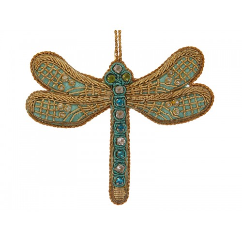 Turquoise Satin Dragonfly Decoration
