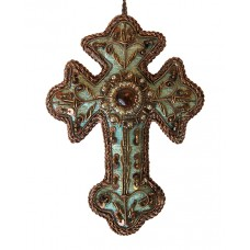 Turquoise Brocade Cross Christmas Decoration