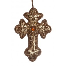 Gold Tissue Cross Christmas Tree Decoration