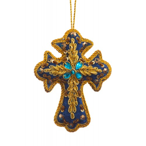 Navy Velvet Cross Christmas Tree Decoration
