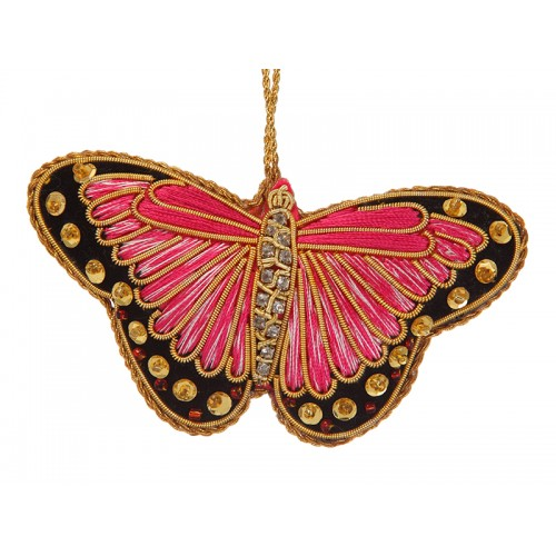 Pink Satin Butterfly Decoration