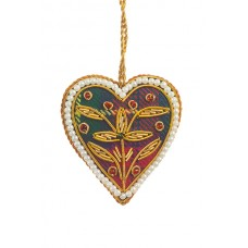 Mini Tartan Heart with Pearl Border Christmas Decoration