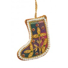 Mini Tartan Boot with Pearl Border  Christmas Decoration
