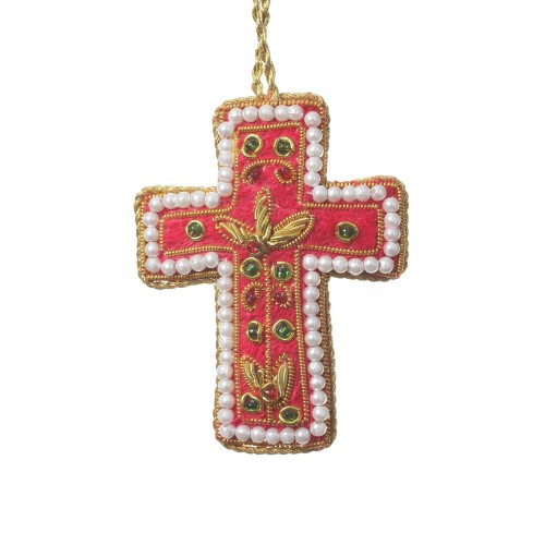 Red Velvet Mini Cross with Pearls Decoration