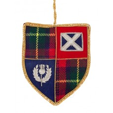 Tartan Shield with Saltire and Thistle Christmas Decoration