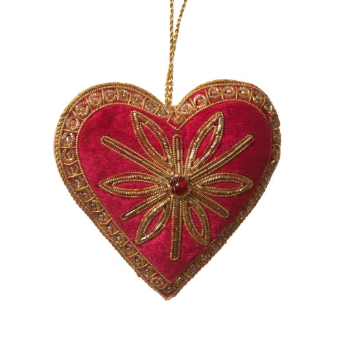 Red Velvet Fire Heart Decoration