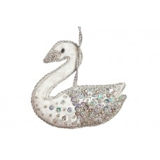 Silver Jewel Swan Christmas Tree Decoration