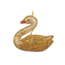 Gold Jewel Swan Christmas Tree Decoration