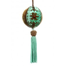 Eau de Nil Velvet and Brocade Christmas Bauble with Tassel