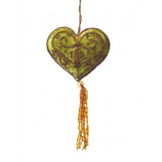 Sage Green Velvet Heart with Tassel Christmas Decoration