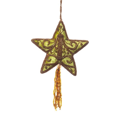 Sage Green Velvet Star with Tassel