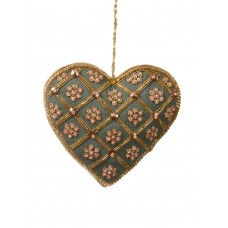 Teal Silk Heart Christmas Tree Ornament