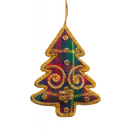 Scottish Tartan Tree Decoration with Swirls