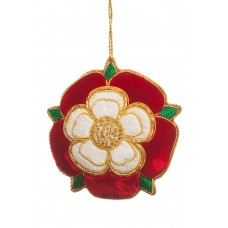 Red and White Tudor Rose Christmas Ornament