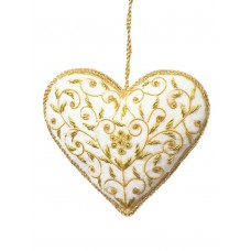 Ivory Velvet Floral Heart Christmas Ornament