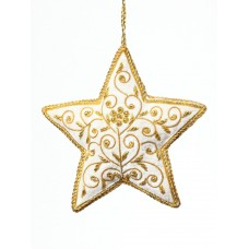 Ivory Floral Star Christmas Tree Decoration