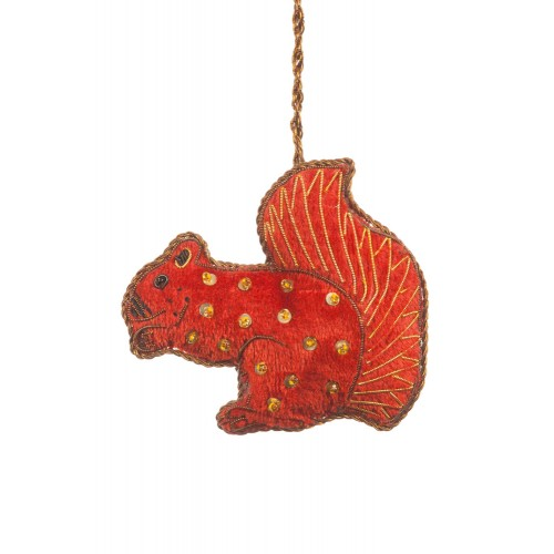 Velvet Squirrel Tree Decoration